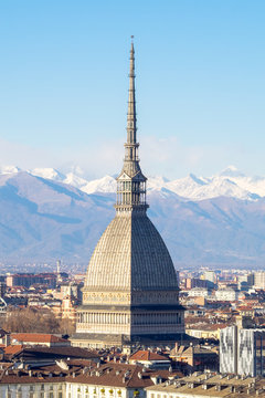City of Turin and Mole Antonelliana landscape, panorama with Alps