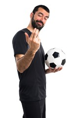 Football player coming gesture