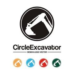 Excavator Logo - Circle, Excavator, Black Silhouette Design Logo Vector
