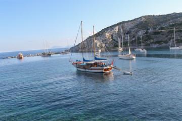 Knidos near the coast of Marmaris, Turkey. Knidos, Datca Marmaris, Turkey Cnidus Datcha. Mediterranean coast. Peninsula near the old ruins of Knidos in Turkey. Sea coast.