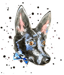 Close up portrait of cheerful watercolor dog