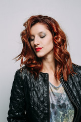 Portrait of a redhead woman.