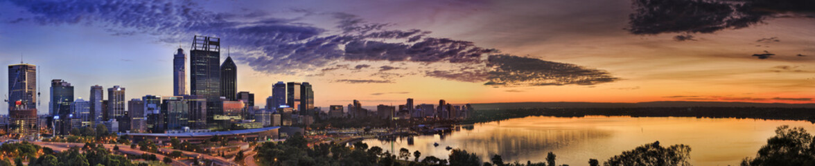 Perth Park CBD River yellow sunrise