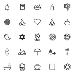 Zen society line icons on white background