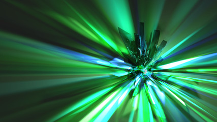 Refraction Abstract Background - Green An abstract based on the refraction from a cluster of green crystals.