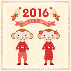 Chinese new year greeting card for the year of monkey 2016 with monkey boy and girl characters.