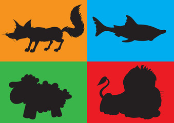 illustration of animation silhouette of animals