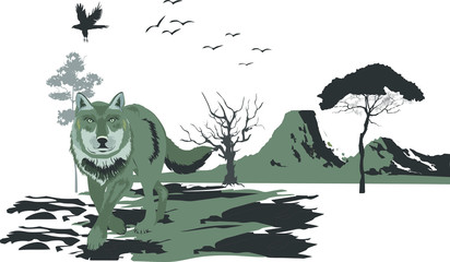 Vector illustration of wolf in standing pose. Vector nature landscape, trees, mountains, lands silhouettes.
