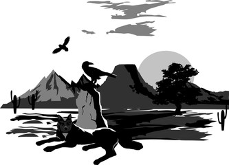 Vector illustration of wolf lying beside the stone. Vector nature landscape, trees, mountains, lands silhouettes.