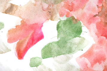 Watercolor paint abstract. Red Green.