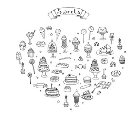 Hand drawn doodle Sweets set Vector illustration Sketchy Sweet food icons collection Isolated desert symbol on white background Cupcake Macaron Chocolate bar Candy Cake Pie Pastry Lollipop Pastry