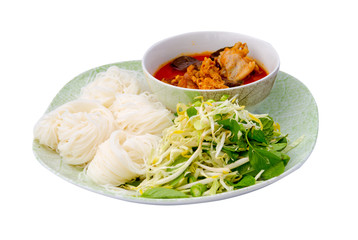 thai vermicelli eaten with chicken curry isolated on white backg