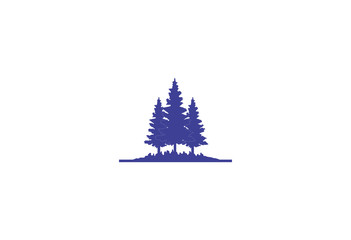 blue pine forest silhouette logo