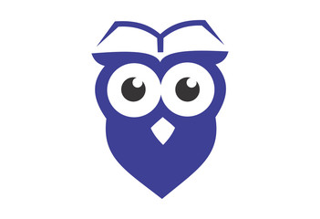 Owl with book on head template logo