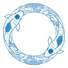 Pair of carp koi illustration in blue and white china ceramics style