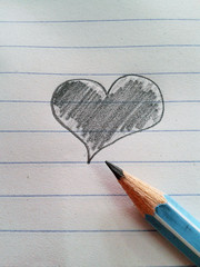 heart drawing and pencil on paper
