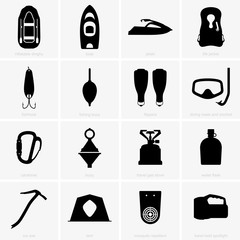 Fishing & camping icons