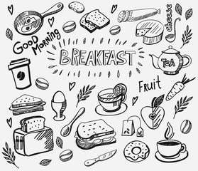 vector breakfast and morning icon set