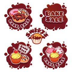 Set of labels for bake sale in the form of chocolate spots.