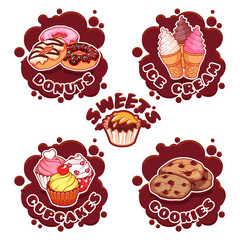 A set of labels for different sweets in the form of chocolate sp