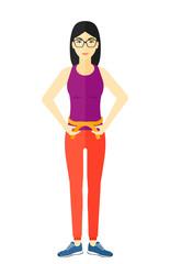 In de dag Aquarel Gezicht Woman measuring waist.