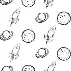 Planet and rocket ink imitation seamless pattern