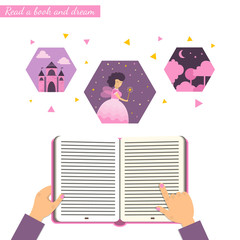 Open book in kids hands with set of fairy tale elements: castle, magic wood and fairy.