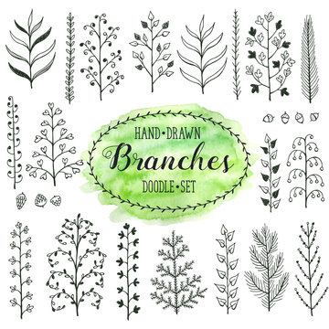 Hand drawn branches collection. Set of simple doodle branches isolated on white background. Vintage ink branches. Floral decorative elements for postcard and invitation design.