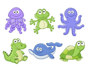 Cute cartoon animals isolated on white background. Stuffed toys set. Vector illustration of adorable plush baby animals. Jellyfish, frog, octopus, crocodile, whale, turtle.