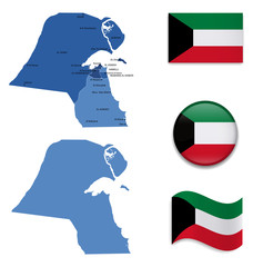 High Detailed Map of Kuwait With Flag Collection