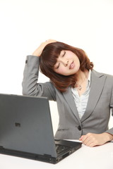 young Japanese businesswoman doing self neck stretch