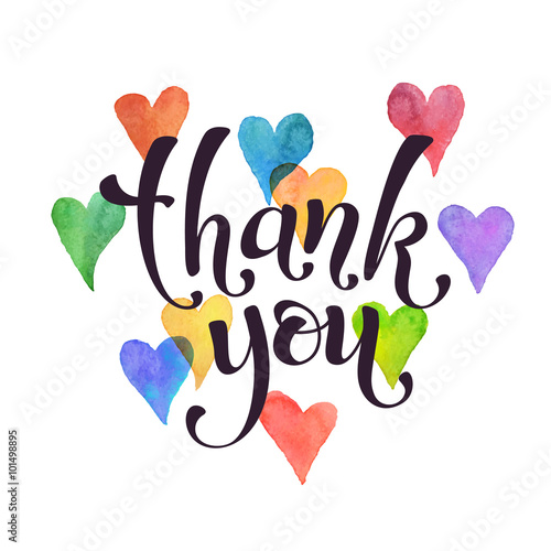 thank you lettering with watercolor hearts on background modern