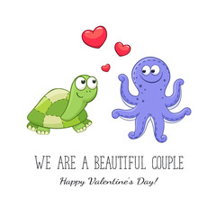 Cartoon animals with hearts. Valentine's day. Funny greeting card. We are different but i still love you. Turtle and octopus in love.