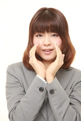 young Japanese businesswoman shout something