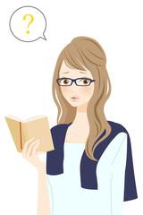 読書中の女性 ハテナ