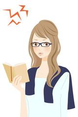 読書中の女性 怒る