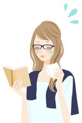 読書中の女性 悲しい
