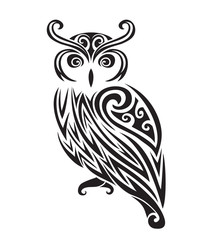 Decorative ornamental owl silhouette.