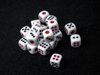 Close up of many dices