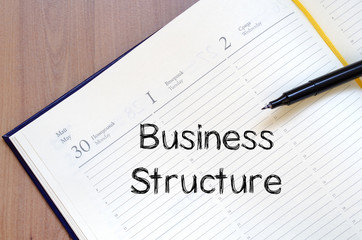 Business structure write on notebook