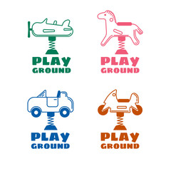 Four logo in line style for a kids playground. Vector icon set i