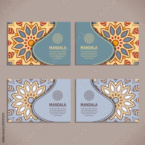 Ornamental colorful template for business card flyer or banner with ornamental colorful template for business card flyer or banner with mandala vector ornamental mandala reheart Choice Image