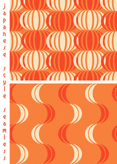 2 japanese style coordinated seamless patterns, chinese lanterns and ribbons hanging, or lotus flowers, or a piled pumpkins in the garden, in a warm orange color palette.