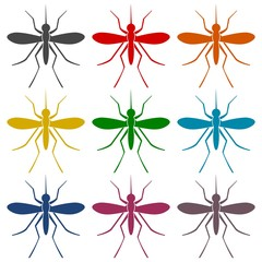 Mosquito simple icons set