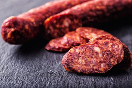 Sausage Chorizo. Spanish traditional chorizo sausage, with fresh herbs, garlic, pepper and chili peppers. Traditional cuisine.