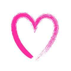 Heart symbol hand drawn with pink paint by brush.