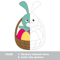 Easter Bunny to be colored. Vector trace game.