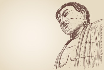 Hand drawn of Great Buddha in Japan