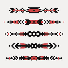 Vector set of decorative ethnic borders with american indian motifs. Boho style. Tribal design elements.