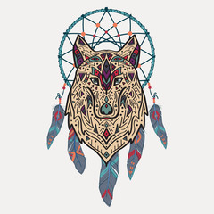 Vector colorful illustration of tribal style wolf with ethnic ornaments and dream catcher. American indian motifs. Totem tattoo. Boho design.